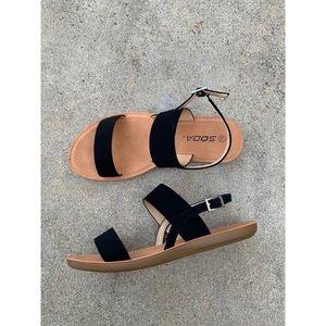 Cityclassified Vegan Black Double Strap Sandals